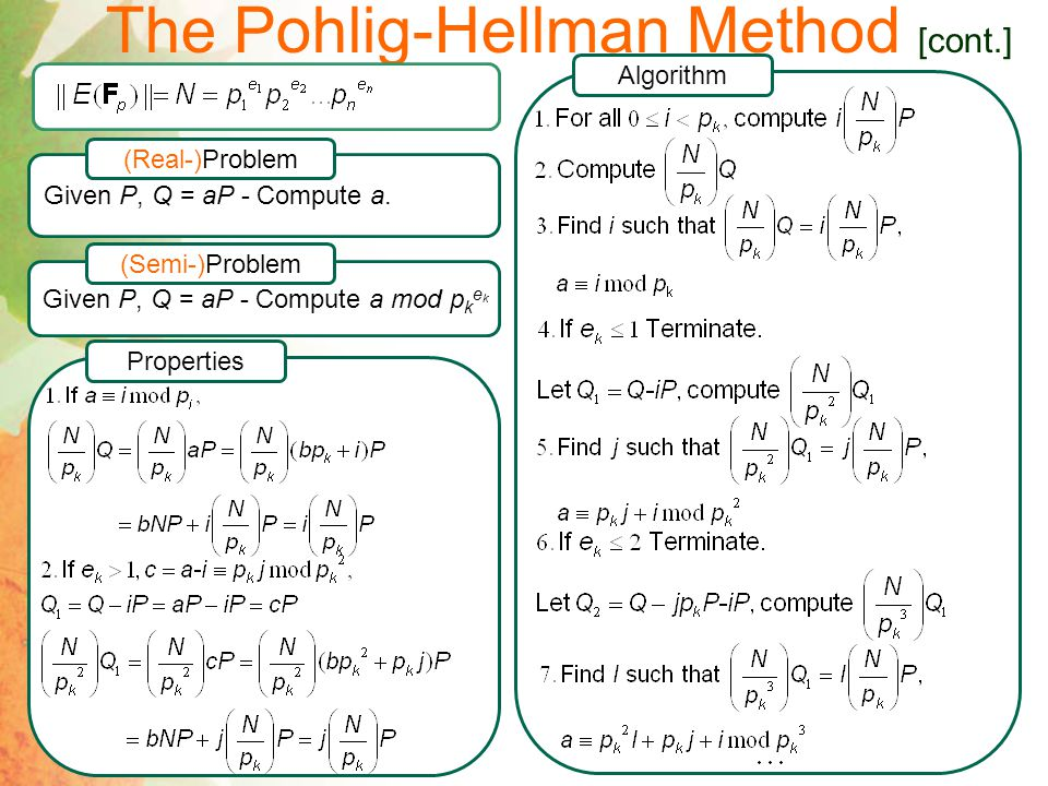 The Pohlig-Hellman Method [cont.]